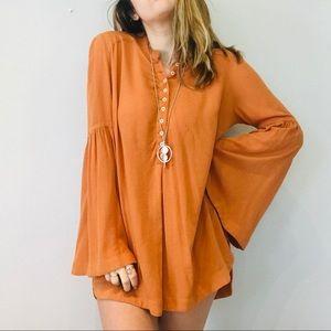 Free people orange button bell sleeve tunic dress